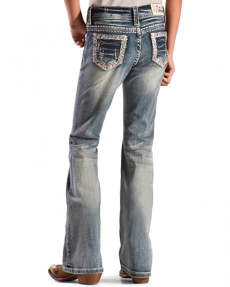 Grace in LA Girls' Embroidered Glitzy Jeans - Bootcut