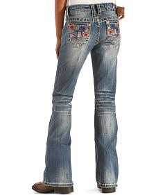 Grace in LA Girls' Floral Embroidery Pocket Jeans - Bootcut