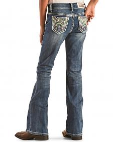 Grace in LA Girls' Colorful Stitch Pocket Jeans - Bootcut
