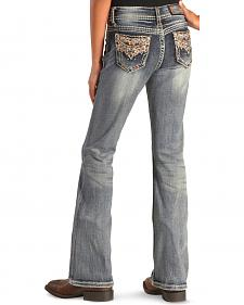 Grace in LA Girls' Multi-Stitch Pocket Bootcut Jeans