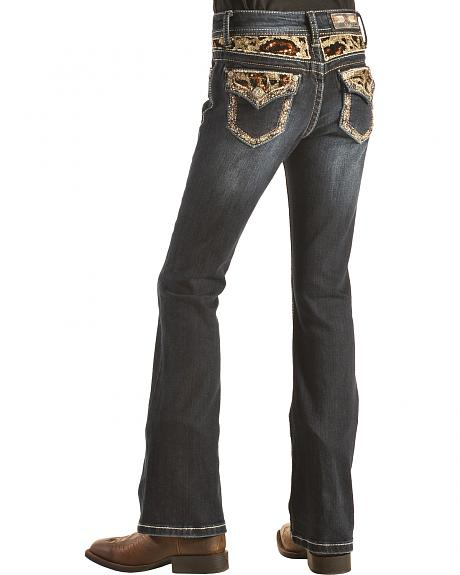 Grace in LA Girls' Black and Gold Embellished Flap Pocket Bootcut Jeans