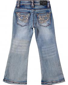 Cowgirl Hardware Girls' Toddler Scroll Embroidered Jeans