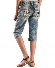 Miss Me Girls' Patchwork Denim Capris