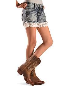 MIss Me Girls' Flower Lace Denim Shorts