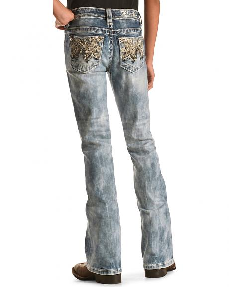 Miss Me Girls' Butterfly Bootcut Jeans