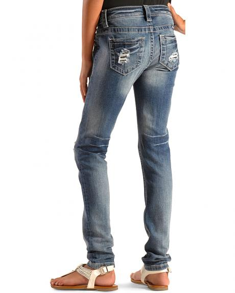 Miss Me Girls' Ripped and Repaired Skinny Jeans