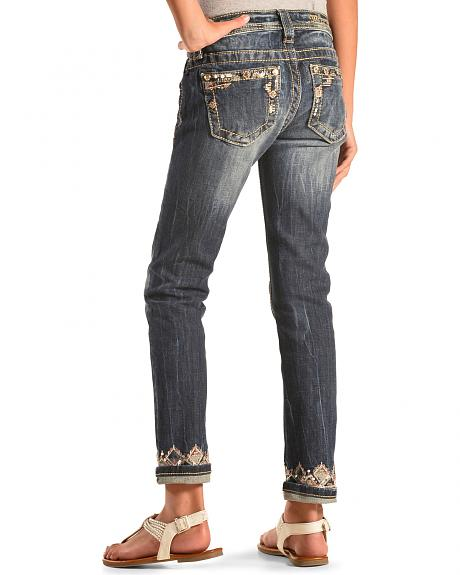 Miss Me Girls' Embellished Cuff and Pocket Skinny Jeans