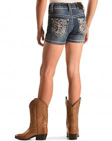 Rodeo Girl Embellished Cross Denim Shorts