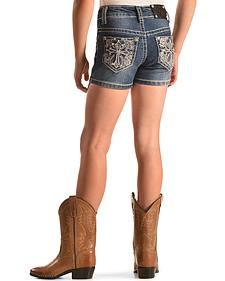 Rodeo Girl Embellished Cross Denim Shorts