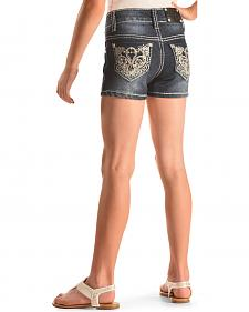 Rodeo Girl Scroll Embellished Pocket Denim Shorts