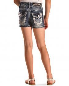 Rodeo Girl Embellished Flap Pocket Denim Shorts