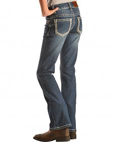 Cowgirl Hardware Girls' Stitched Rim Bootcut Jeans