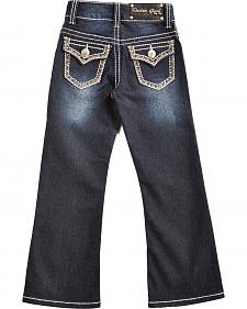 Rodeo Girl Girls' Rhinestone Flap Pocket Dark Wash Jeans