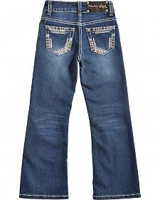 Rodeo Girl Girls' Stitch Pocket Dark Wash Jeans