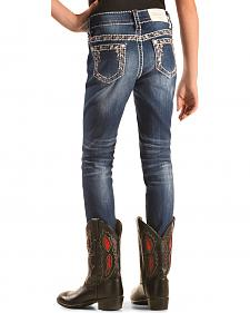Grace in LA Girls' Embroidered Border Skinny Jeans