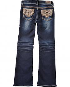 Grace in LA Girls' Lattice Scroll Pocket Bootcut Jeans