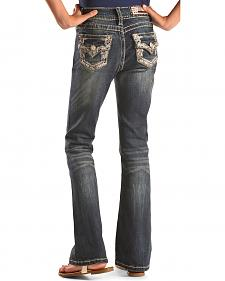 Grace in LA Girls' Embellished Flap Bootcut Jeans