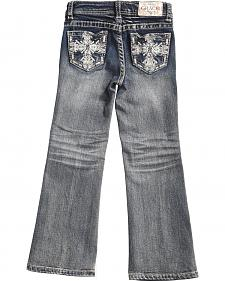 Grace in LA Girls' Dark Wash Scroll Bootcut Jeans