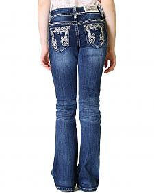 Grace in LA Girls' Dark Wash Embroidered Bootcut Jeans