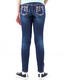 Grace in LA Girls' Dark Wash Floral Embellished Skinny Jeans