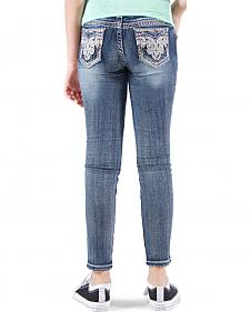 Grace in LA Girls' Embellished Faux Flap Skinny Jeans