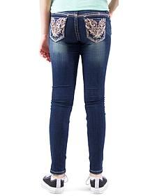 Grace in LA Girls' Dark Wash Embellished Skinny Jeans
