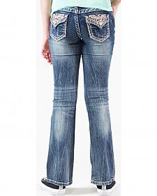 Grace in LA Girls' Embellished Flap Pocket Bootcut Jeans