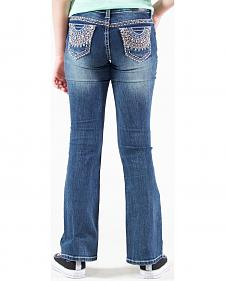 Grace in LA Girls' Embellished Pocket Bootcut Jeans