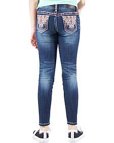 Grace in LA Girls' Embellished Contrast Skinny Jeans
