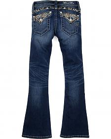 Miss Me Girls' Dark Wash Embellished Bootcut Jeans