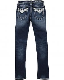 Miss Me Girls' Dark Wash Embellished Flap Skinny Jeans