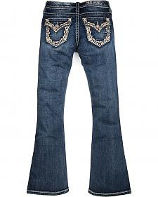 Miss Me Girls' Dark Wash Fancy Flap Pocket Bootcut Jeans