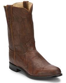 Justin Classics Deerlite Roper Cowboy Boots - Round Toe