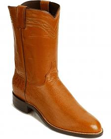 Justin Smooth Ostrich Roper Cowboy Boots