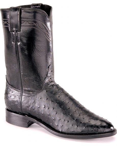 Justin Full Quill Ostrich Roper Boots - Medium Toe
