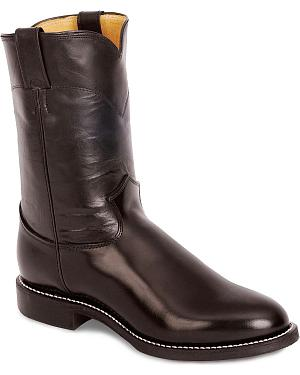 Justin Melo-Veal Leather Roper Boots - Round Toe