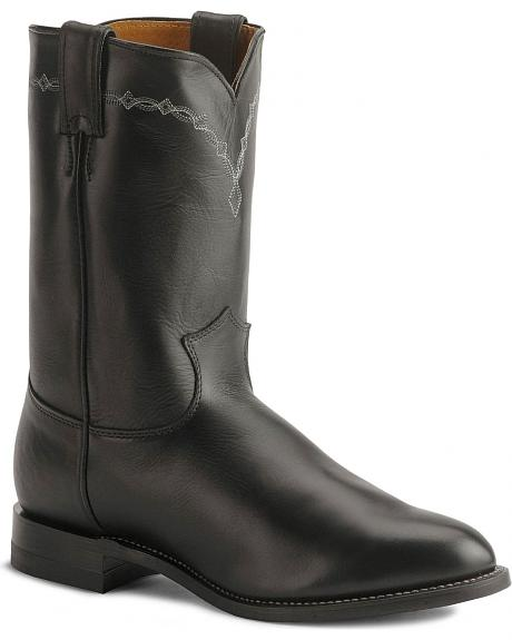 Justin Black Classic Roper Boots - Round Toe