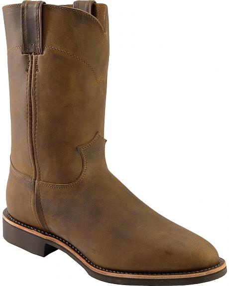 Justin Distressed Bay Apache Roper Boots - Round Toe