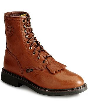 "Ariat Cascade 8"" Lace-Up Work Boots - Steel Toe"
