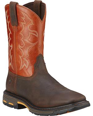 Ariat Workhog Western Work Boots - Soft Square Toe