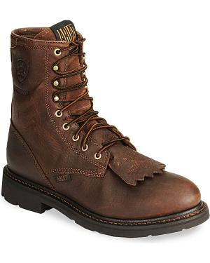 "Ariat Waterproof Cascade H20 8"" Lace-Up Work Boots - Round Soft Toe"