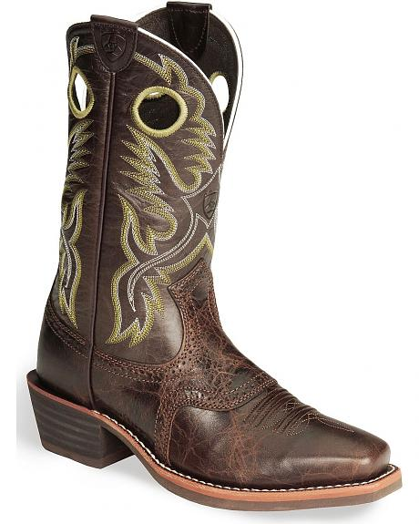 Ariat Heritage Rough Stock Brown Cowboy Boots - Square