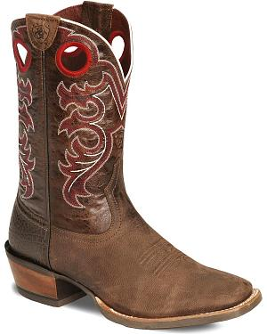 Ariat Brown Crossfire Cowboy Boots - Wide Square Toe