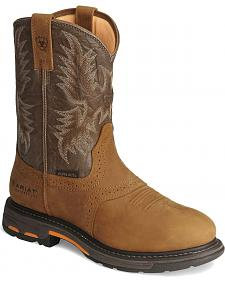 Ariat Brown H20 Workhog Work Boots - Round Toe