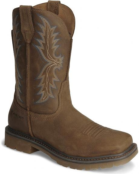 Ariat Brown Rambler Pull-On Work Boots - Wide Square Toe
