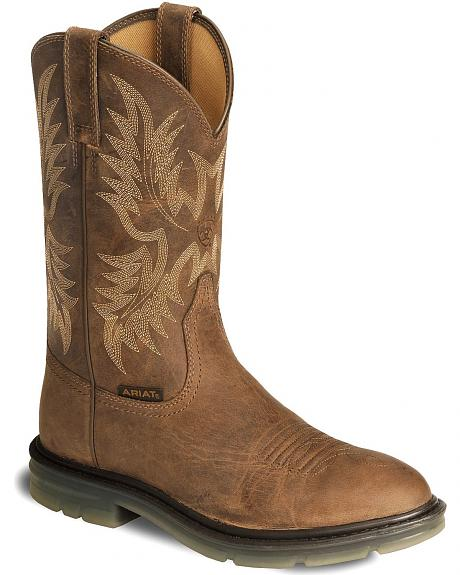 Ariat Brown Maverick II Pull-On Work Boots - Steel Toe