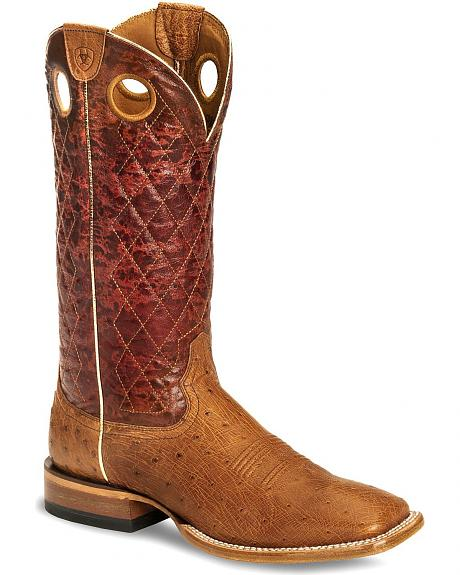 Ariat Ranchero Smooth Ostrich Boot - Wide Square Toe