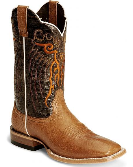 Ariat Cognac Mesteno Smooth Ostrich Boot - Wide Square Toe