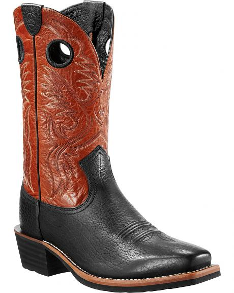 Ariat Heritage Rough Stock Black Boots - Wide Square Toe