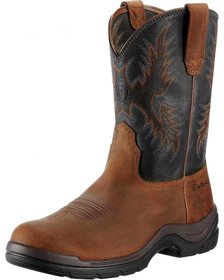 Ariat FlexPro Western Pull-On Work Boots - Round Toe